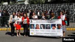 Relatives of missing people hold a protest, outside Los Pinos presidential residence, for the strengthening of the new general law on disappearance, in Mexico City, Mexico Nov. 16, 2017.