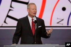 Mayor Mick Cornett of Oklahoma City addresses the opening day of the Republican National Convention in Cleveland, July 18, 2016.