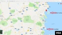 Vị trí Bắc Vân Phong trên bản đồ. Ảnh: Lê Anh Hùng