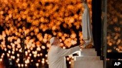 Le pape François mène une messe à Fatima, au Portugal, le 12 mai 2017.