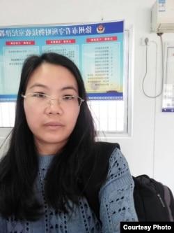 资料照:北京人权律师余文生律师妻子许艳在苏州看守所