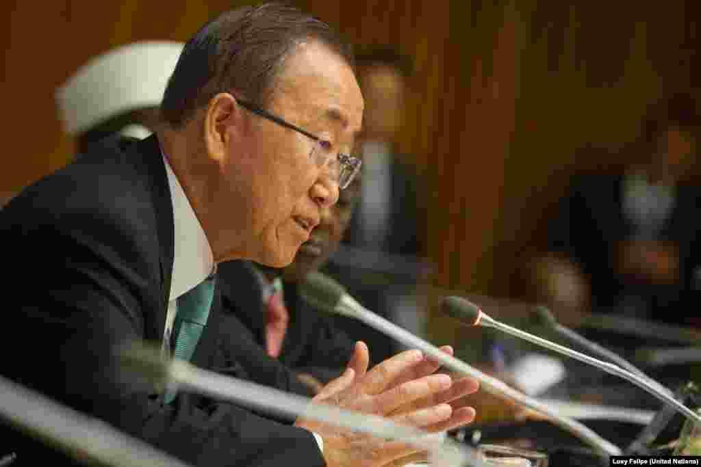 Sekretaris Jenderal PBB Ban Ki-moon berpidato dalam pertemuan tingkat tinggi mengenai Sudan Selatan, di sela-sela Sidang Majelis Umum PBB di New York (26/9).