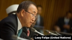 United Nations Secretary-General Ban Ki-moon addresses the high-level meeting on South Sudan, on the sidelines of the U.N.General Assembly in New York, on Tuesday, Sept. 26, 2015.