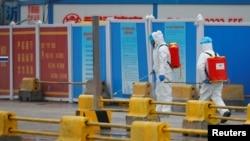 Pekerja dengan menggunakan APD menyemprot tanah dengan diinfektan di Pasar Baishazhou selama kunjungan tim Organisasi Kesehatan Dunia (WHO) untuk menyelidiki asal-usul pandemi virus corona, di Wuhan, Hubei, China. (Foto: Reuters)