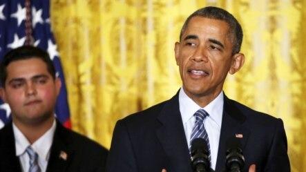 Tổng thống Mỹ Barack Obama nói về kế hoạch giảm lượng khí thải carbon của các nhà máy điện trong nước tại Tòa Bạch Ốc, ngày 3/8/2015.