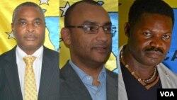 Candidatos à presidência da CASA-CE: Abel Chivukuvuku, Carlos Pinho e João Kalupeteka
