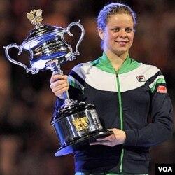 Kim Clijsters, juara bertahan Australia Open setelah mengalahkan Li Na di final tahun lalu.