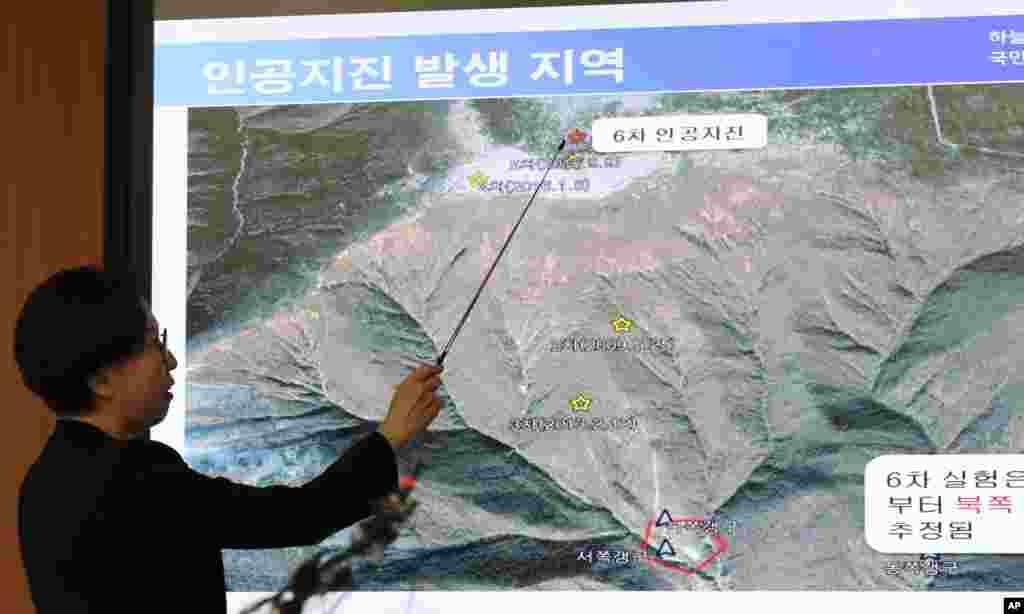 북한이 6차 핵실험을 감행한 지난 3일 한국 기상청의 이미선 지진화산센터장이 북한 함경북도 길주군 풍계리에서 발생한 인공 지진 관련 브리핑을 하고 있다.
