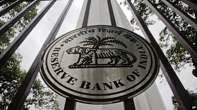 The Reserve Bank of India logo is pictured outside its head office in Mumbai, July 26, 2011.