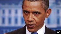 奧巴馬總統7月11日於白宮記者會上要求與國會達成債務協議