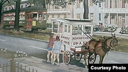 An artist captured two New Orleans institutions in one: the venerable St. Charles Avenue streetcar, and the Roman Candy Man. Even the peddler's mule has become a bit of an icon. (www.thepastwhispers.com)