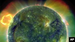 A full-disk multiwavelength extreme ultraviolet image of the sun taken by the Solar Dynamics Observatory or SDO, 30 Mar 2010