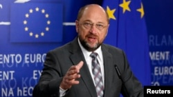 European Parliament President Martin Schulz briefs media on Cyprus situation at European Parliament, Brussels, March 20, 2013.