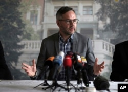 German Deputy Foreign Minister Michael Roth speaks to the media on detained German-Turkish journalist Deniz Yucel, in Istanbul, April 4, 2017.