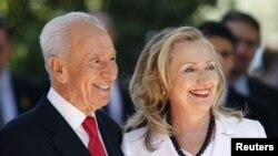 希拉里克林頓與以色列總統佩雷斯