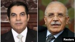 Tunisia's former President Zine al-Abidine Ben Ali (L) and Tunisia's former Interior Minister Rafik Belhaj Kacem (R) in Tunis in 2009.