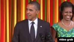 美國總統奧巴馬與第一夫人出席招待美國孩童的國宴