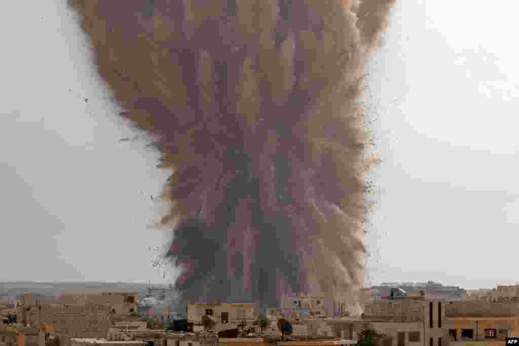 A large explosion allegedly hitting a Syrian army military outpost in the southern part of the city of Maarat al-Numan in the Idlib province.