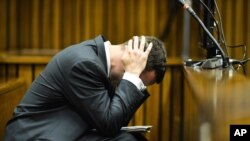 Oscar Pistorius shows emotion during his trial in South Africa.
