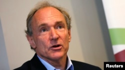 World Wide Web founder Tim Berners-Lee speaks during a news conference in London, Dec. 11, 2014.