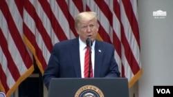 美国总统特朗普在记者会上讲话。(2020年5月11日)