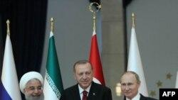 Les présidents turc Recep Tayyip Erdogan, russe Vladimir Poutine et iranien Hassan Rohani à Ankara, le 4 avril 2018.