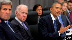 Tổng thống Barack Obama phát biểu trong cuộc họp với Chủ tịch Trung Quốc Tập Cận Bình tại Hội nghị thượng đỉnh an ninh hạt nhân tại Washington.