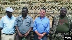 Ambassador Bruce Wharton at Naletale National Monument with Gweru mayor Hamutendi Kombayi (left) and Norbert Nhutsve (right), regional director of National Museums and Monuments of Zimbabwe. (Photo/Taurai Shava)