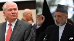 حامد کرزی رئیس جمهور افغانستان و رابرت گیتس وزیر دفاع افغانستان که طی سفر اعلام ناشدۀ از کابل دیدن نمود.