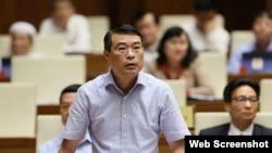 Thống đốc Ngân hàng NNVN Lê Minh Hưng phát biểu trước Quốc hội hôm 6/6/2019. Báo Tiền Phong.