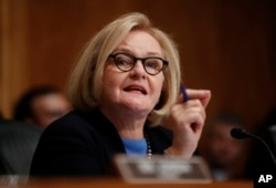 FILE - Sen. Claire McCaskill, a Missouri Democrat, speaks during a hearing on Capitol Hill in Washington, Sept. 18, 2018.