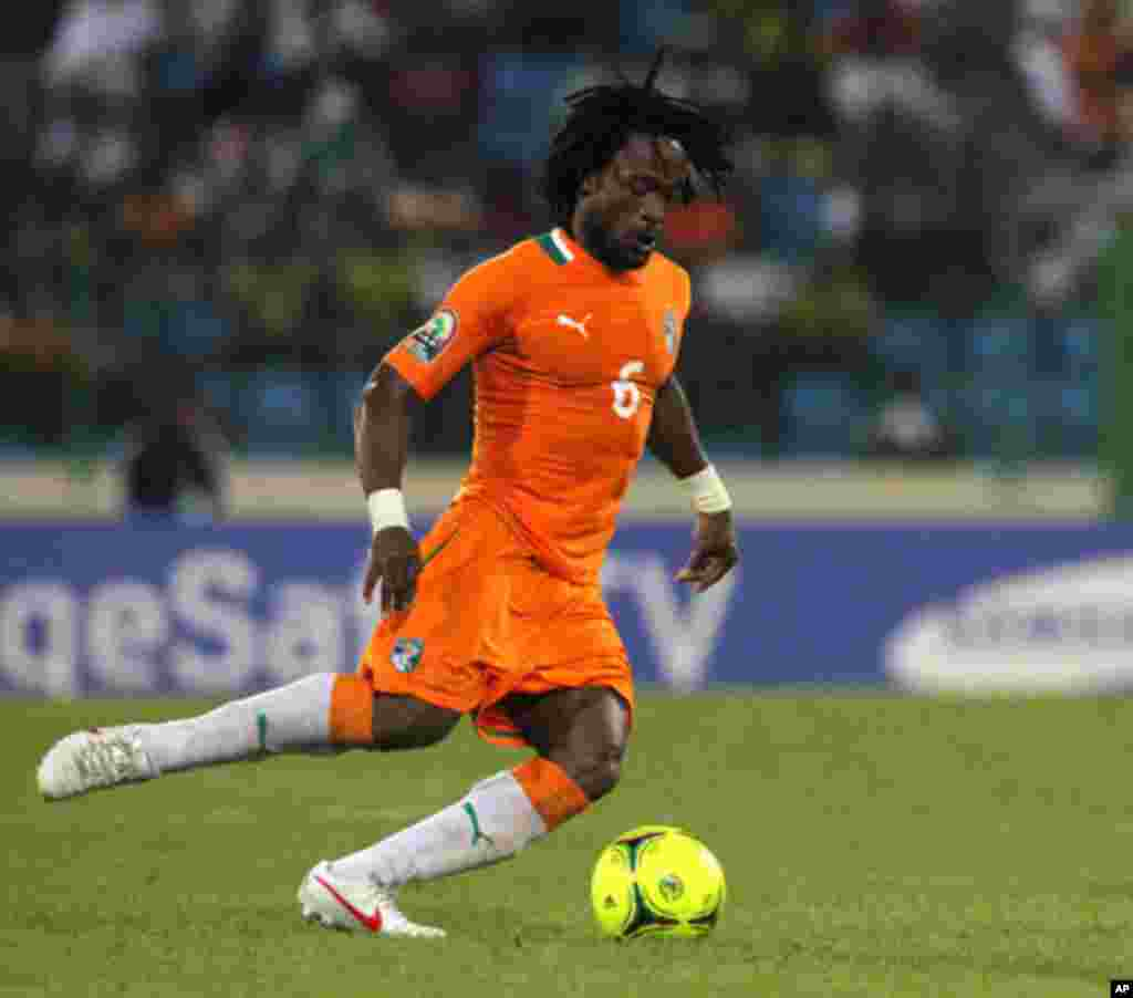 Jean-Jacques of Ivory Coast controls the ball during their African Nations Cup soccer match against Burkina Faso in Malabo