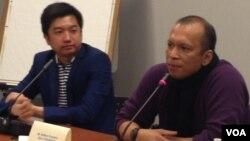 Pengusaha Tokopedia, William Tanuwijaya (kiri) dan CEO GE Global, Dr. Handry Satriago dalam diskusi di Washington DC.