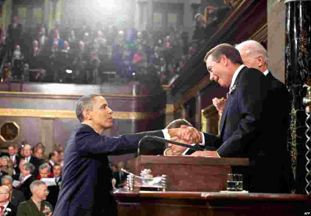 President Obama shakes hands with Speaker of the House John Boehner before delivering the State of the Union address at the U.S. Capitol in Washington, D.C. (Official White House Photo/Pete Souza)