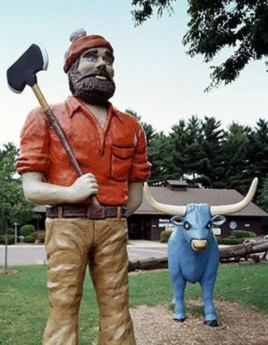 Paul Bunyan, a folklore giant lumberjack of unusual skill, and his companion, Babe the Blue Ox, were first introduced in 1916 in a logging company's advertising campaign.
