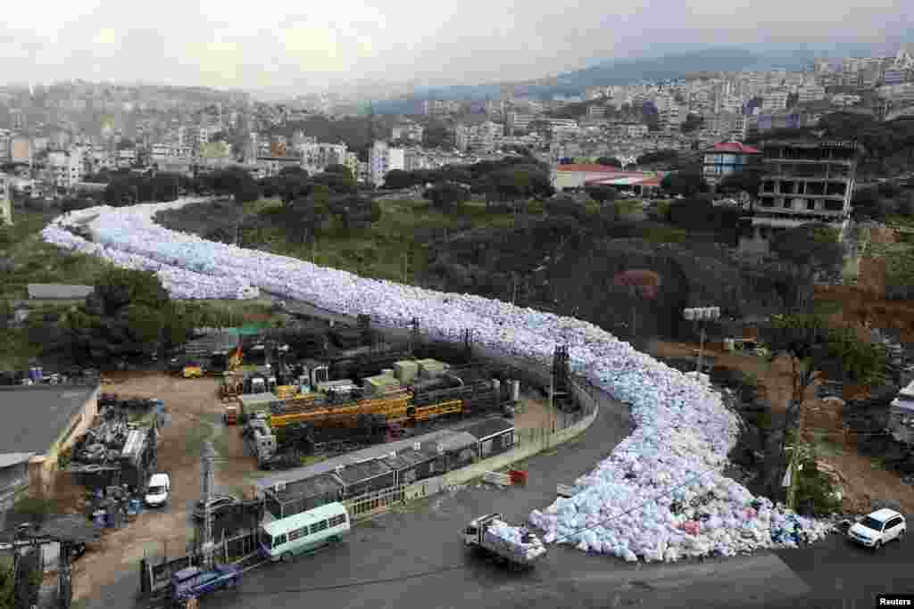 Packed garbage bags are seen in Jdeideh, Beirut, Lebanon.
