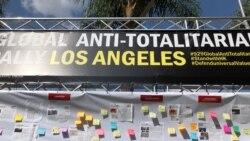 """反独裁""""延烧洛杉矶(之二),数百人聚集力挺""""香港人加油!"""