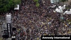 Đoàn người biểu tình, từ 100.000 đến 400.000 người, đã tràn ngập các đường phố và các trạm xe điện ở trung tâm thành phố Đài Bắc