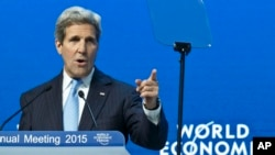 U.S. Secretary of State John Kerry speaking during a panel session at the World Economic Forum, in Davos, Switzerland, Jan. 23, 2015.