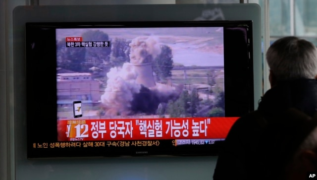 FILE - The TV news shows footage of North Korea's nuclear test on Feb. 12, 2013.