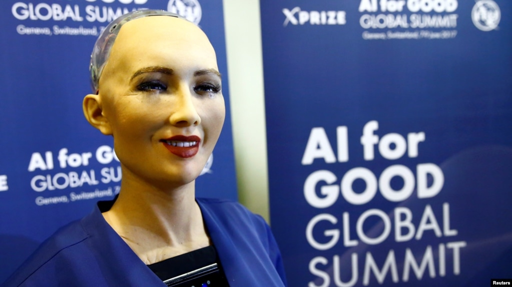 FILE - Sophia, a robot integrating the latest technologies and artificial intelligence developed by Hanson