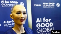 "Sophia, a robot integrating the latest technologies and artificial intelligence developed by Hanson Robotics is pictured during a presentation at the ""AI for Good"" Global Summit at the International Telecommunication Union (ITU) in Geneva, Switzerland ,Ju"