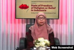Siti Aisyiah Bakrie dari Jamaah Ahmadiyah Indonesia. (Foto: screenshot)