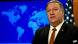 Secretary of State Mike Pompeo speaks during the release of the 2018 Country Reports on Human Rights Practices at the Department of State in Washington, March 13, 2019.
