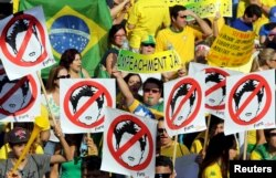 FILE - Demonstrators attend a protest against Brazil's President Dilma Rousseff, part of nationwide protests calling for her impeachment, at Paulista Avenue in Sao Paulo's financial center, Brazil, August 16, 2015.