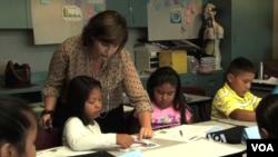 Children study a second language in school