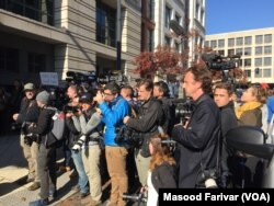Scene in front of US District courthouse where former Trump administration national security adviser Mike Flynn pleaded guilty to lying to the FBI in January of 2017.