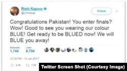 رشی کپور کے ٹویٹ کا سکرین شاٹ