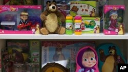 Licensed goods are on display at the office of Animaccord which produces the Masha and Bear cartoon TV series in Moscow, Russia. Masha and the Bear, a Russian animated television series launched in 2009, now broadcasts in more than 120 countries including the US.