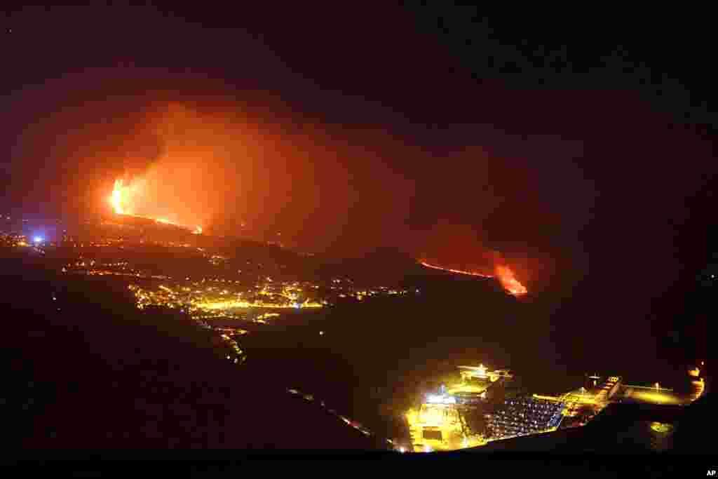 Lava from a volcano reaches the sea on the Canary island of La Palma, Spain.